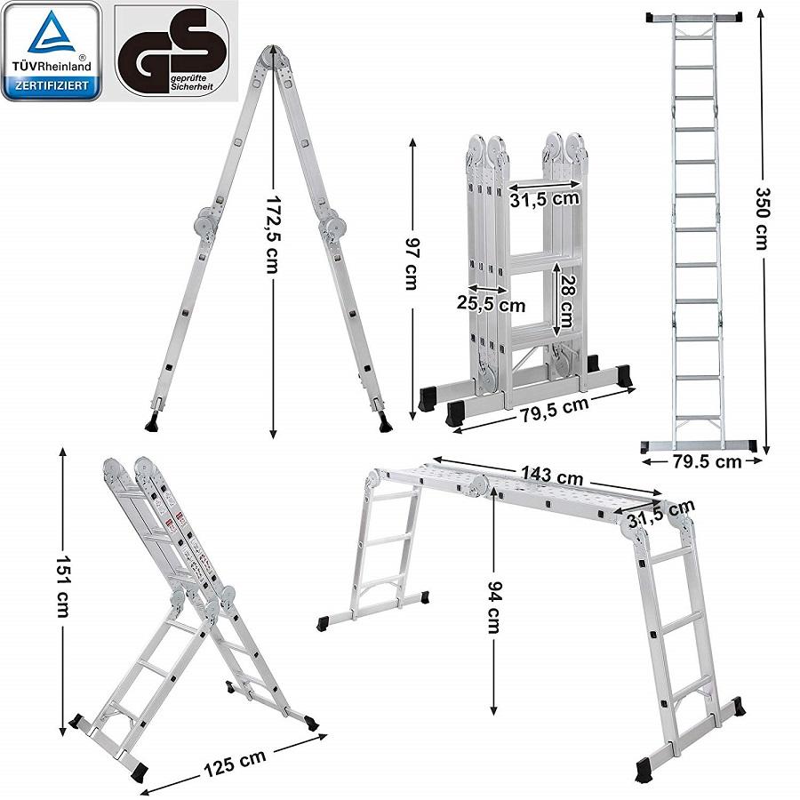 Escalera Multifuncional GS GLT36M SONGMICS